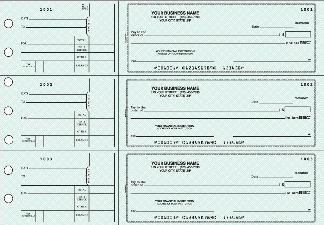 Blue Safety General Purpose 3-on-a-Page Checks Duplicates