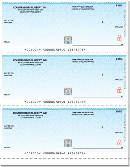 Securiguard Premium Classic Blue Laser Unlined No Voucher Checks - 1 Box