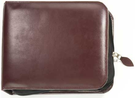 Burgundy Zippered Binder - bonded leather 3 ring