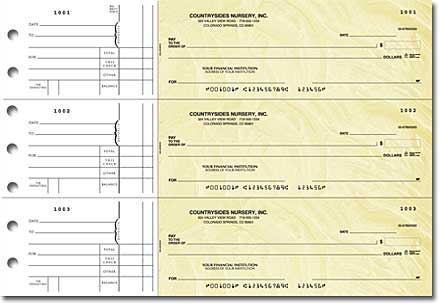 Goldenrod General Purpose 3-on-a-Page Checks – Singles