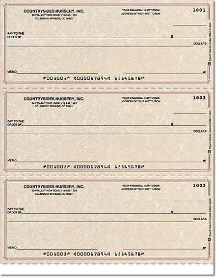 Parchment Laser Checks Lined No Voucher Singles