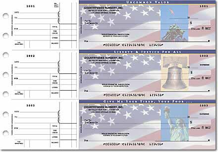 Stars & Stripes General Purpose 3-on-a-Page Checks Duplicates