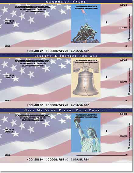 Stars & Stripes Laser Checks, No Voucher Without Lines
