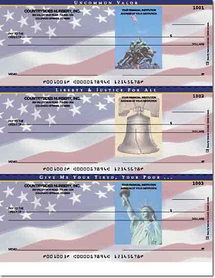 Stars & Stripes Laser Checks Lined No Voucher Singles