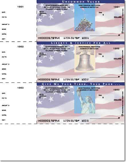 Stars & Stripes 3 On A Page Personal Laser Checks