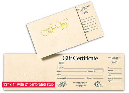 Gift Certificate & Env  Ivory