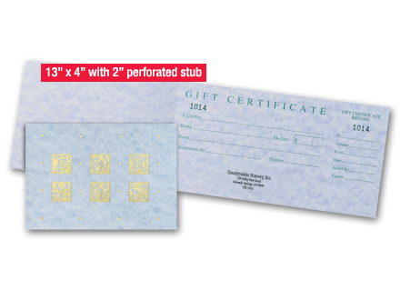 Gift Certificate Supplies