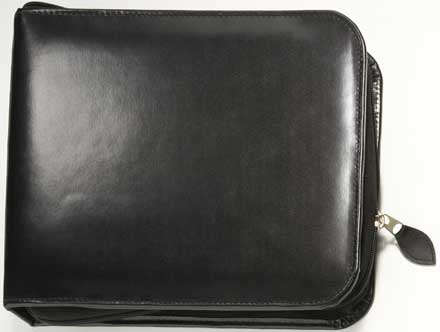 Black Zippered Binder - bonded leather 3 ring