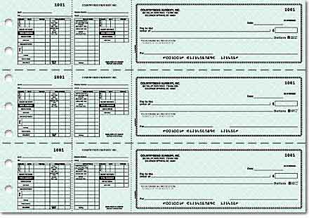 Blue Safety Payroll Salaried/Hourly Checks 3 on a page