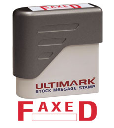 Faxed  Stock Message Stamp, Red Ink