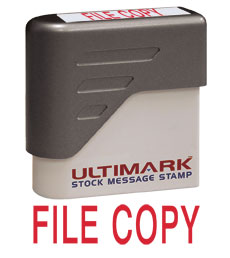 File Copy Stock Message Stamp, Red Ink