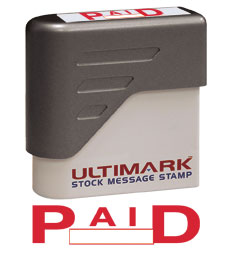 Paid Stock Message Stamp, Red Ink
